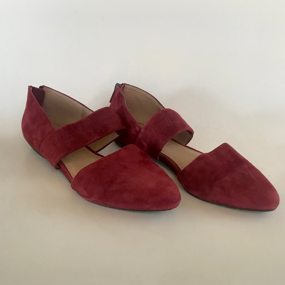 EILEEN FISHER BURGUNDY SUEDE POINTED TOE FLATS